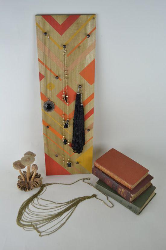 Geometric Jewelry Display in Orange & Copper by DewyBranchDesign, $55.00