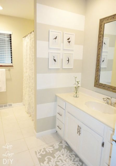 Grey and white stripes in bathroom- then simple silhouette art