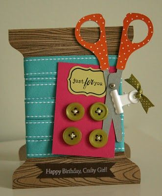 Spool birthday card with ribbon and buttons.