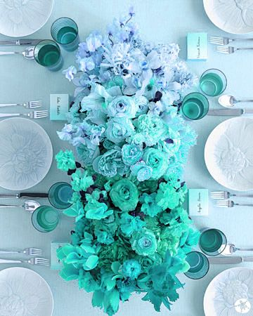 Blue Ombre Tablescape