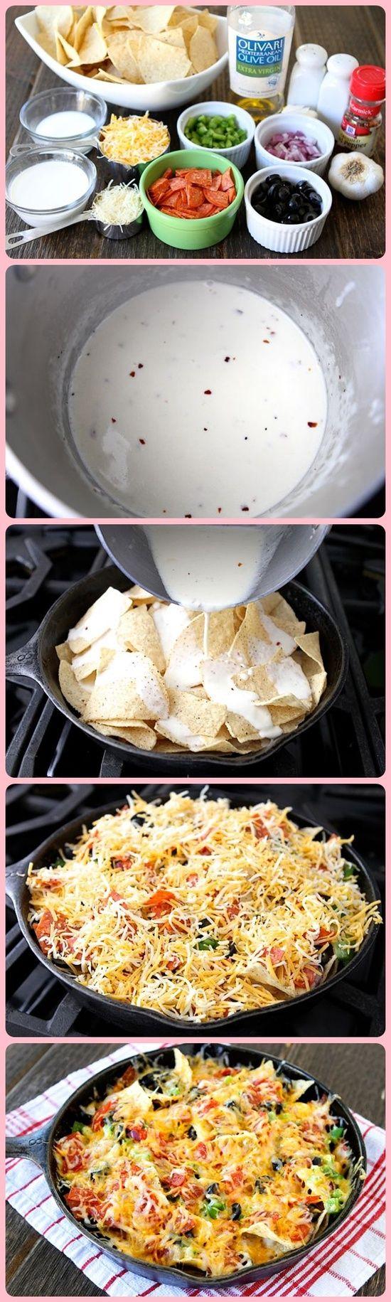 Cast iron nachos - these look so good!!!