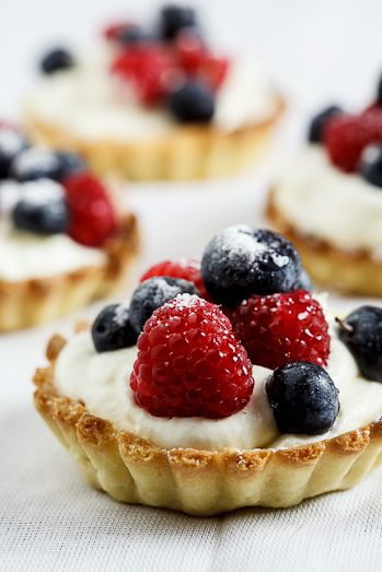 White chocolate tartelettes with fresh berries.....