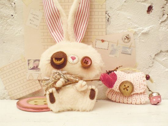 Valentine's Bunny plush toy red heart  pink by Handmadewithloves