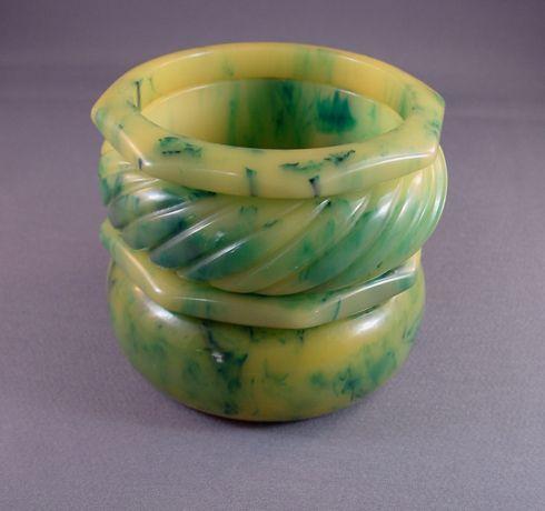 Bakelite teal and custard marbled bangle stack, 4 bangles