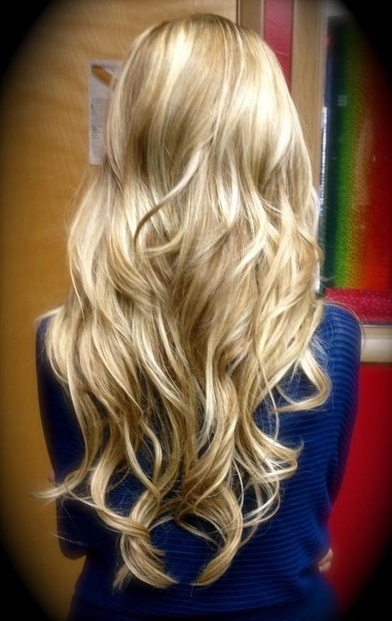 Long blonde curled hair