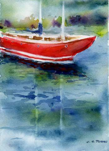 Red Boat  Fine Art Giclee Print  from watercolor by ConnieTownsArt, $20.00