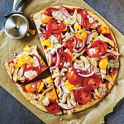 BBQ Chicken and Blue Cheese Pizza Recipe from Cooking Light