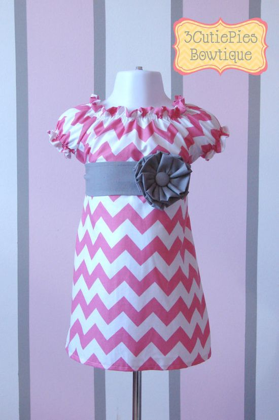 Easter dress, Peasant dress, Chevron dress, girls dress, toddler dress, dress-Girls sizes 3 months-6 years. $40.00, via Etsy.