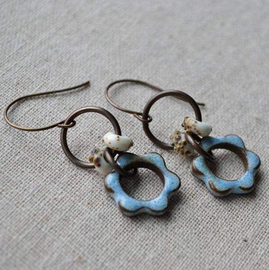 Pale Blue Flower Dangles. $30.00, via Etsy.
