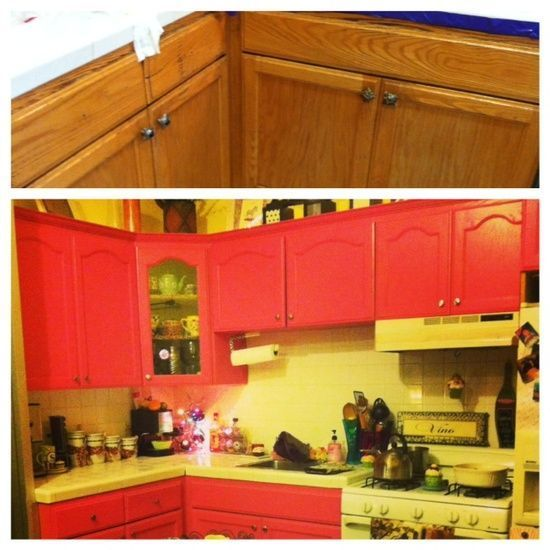 #before and #after     #Fabulous, #easy #kitchen #makeover #pink #cabinets #painted #diy #home #decor #girly #smallspace #yellow #silverknobs    Used liquid sandpaper on old, gross cabinets, painted with pink paint, added new hardware. VOILA new kitchen for less