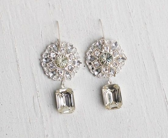 Bridal EARRINGS CRYSTAL Rhinestones Estate Style Hollywood Style Statement Earrings Wedding