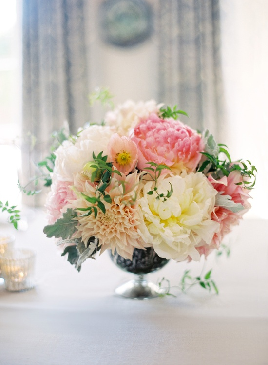 Peonies and dahlias ~ beautiful centerpiece! Photography by josevillaphoto.com, Floral Design by florettedesigns.com, via StyleMePretty.com...