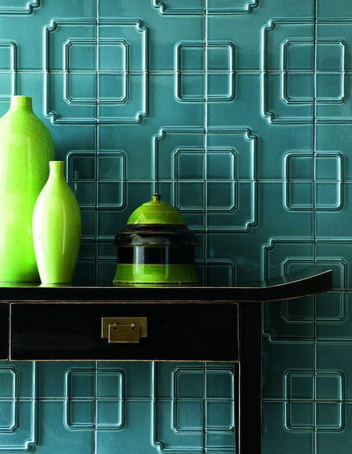 Walker Zanger Studio Moderne Imperial Pattern in Ming Blue