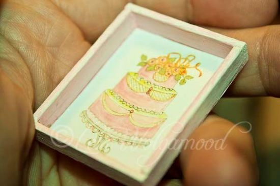 Wedding Cake Print Miniature Doll House Shabby - Vintage Nest Designs, Creative Handmade and Hand Painted Designs