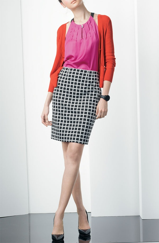 Pleated A-Line Blouse, V-neck Cardigan, & Ponte Pencil Skirt