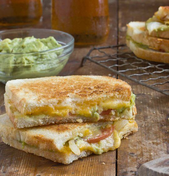 Cheddar Jack Grilled Cheese with Grill Onions & Guacamole
