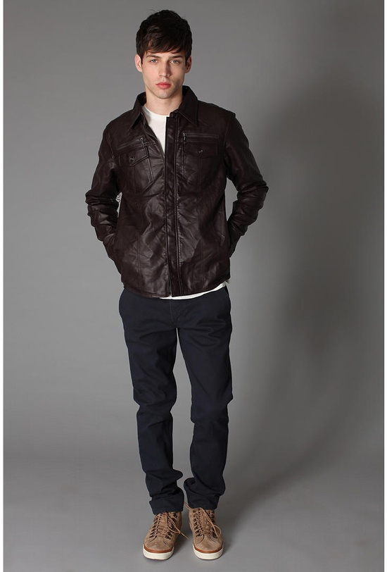 simple faux leather jacket with white tee, dark pants & brown tennis / men fashion