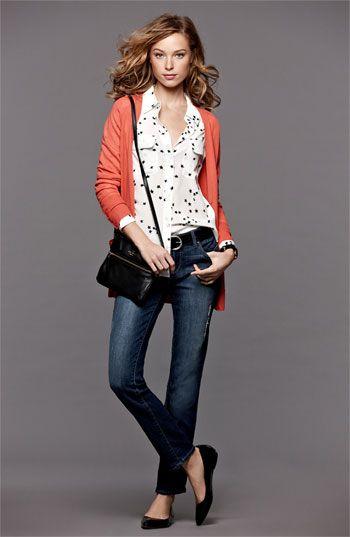 Halogen® Cardigan, Equipment Shirt & Paige Jeans