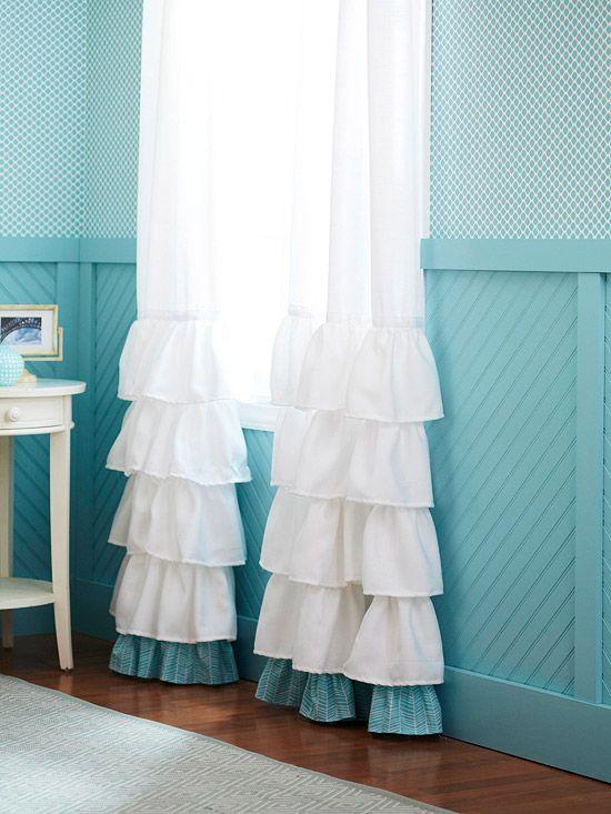 curtains ...love the ruffle half way down.