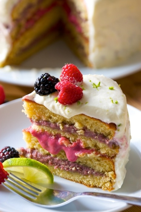 vanilla cake with raspberry and blackberry lime curd