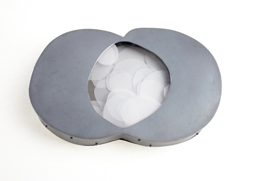 Isabel Dammermann  Brooch: Vesica  Silver, plexiglas, transparent paper