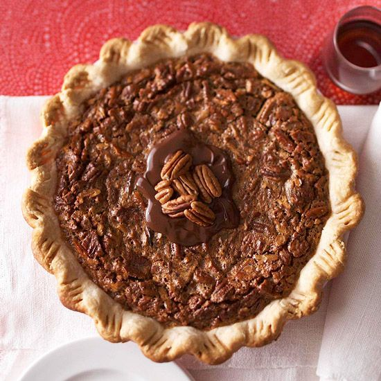 Chocolate Pecan Pie with Kahlua over the top. More chocolate pies: www.bhg.com/...