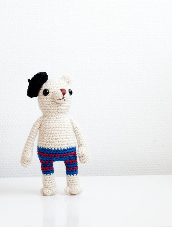 Crocheted amigurumi soft toy soft sculpture  by sofiasobeide, Gerard the French polar bear.