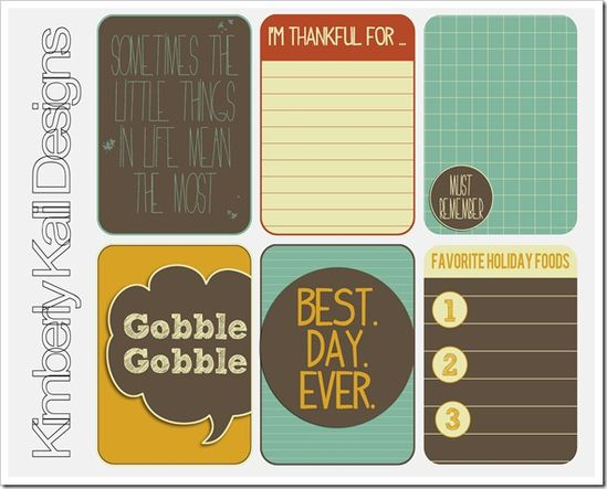 Free printable journaling cards. Love her cards!!! @Kimberly Kalil #project_life  #projectlife