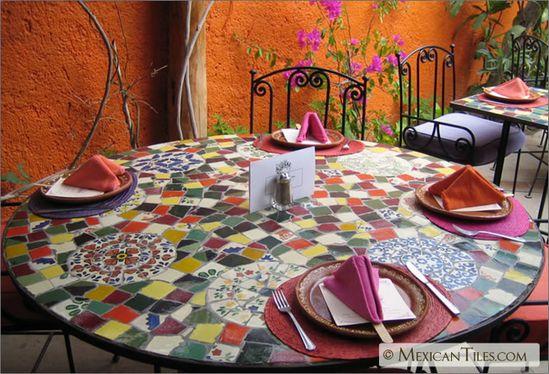 MexicanTiles.com - Table Top #Mosaic Work with Broken #Mexican #Talavera Tile