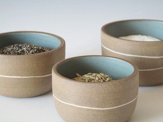 cute bowls wth pale blue & white lines by paulova