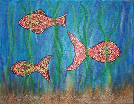 gone fishin' mixed media original canvas. $45.00, via Etsy.