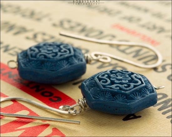Blue Cinnabar Sterling SIlver Earrings - Jewelry by Jason Stroud.