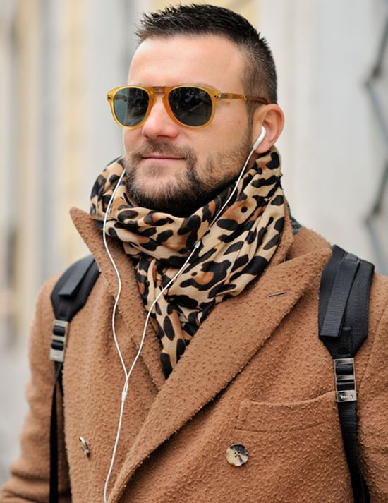 Camel Hair Coat and Leopard Print Scarf. Men's Fall/Winter Fashion.