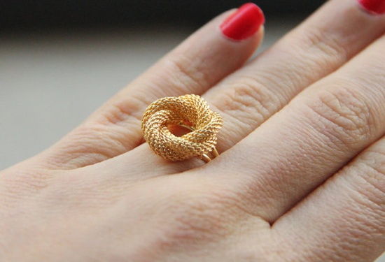 Braided gold plated ring  shabby chic Victorian by TheUrbanLady, $18.00