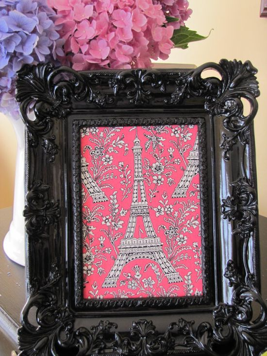 Black and Pink Framed Eiffel Tower Print Fabric by LondonParisRome, $18.00