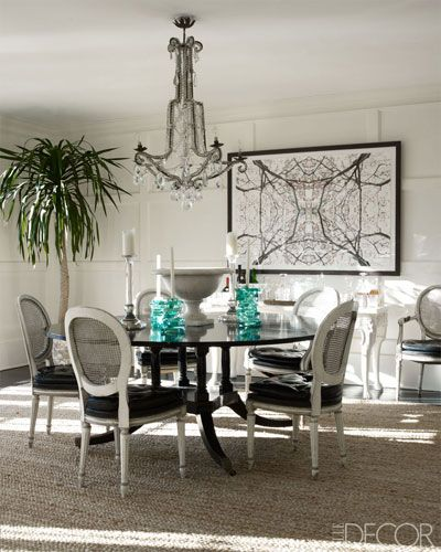 A Southampton dining room with a photograph by Nathaniel Kramer.