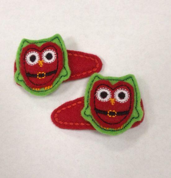 Christmas Santa Owl Felt Snap Hair Clip Barrette by PJSEMBROIDERY, $6.00