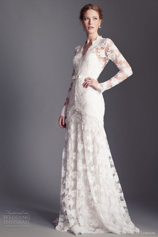 temperley london bridal 2013 guinevere long sleeve lace gown
