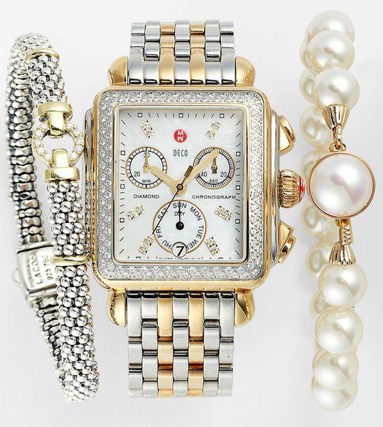 MICHELE Watch, Lagos Bracelet & Majorica Bracelet .??