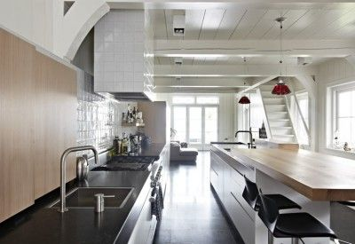Modern kitchen design with wood
