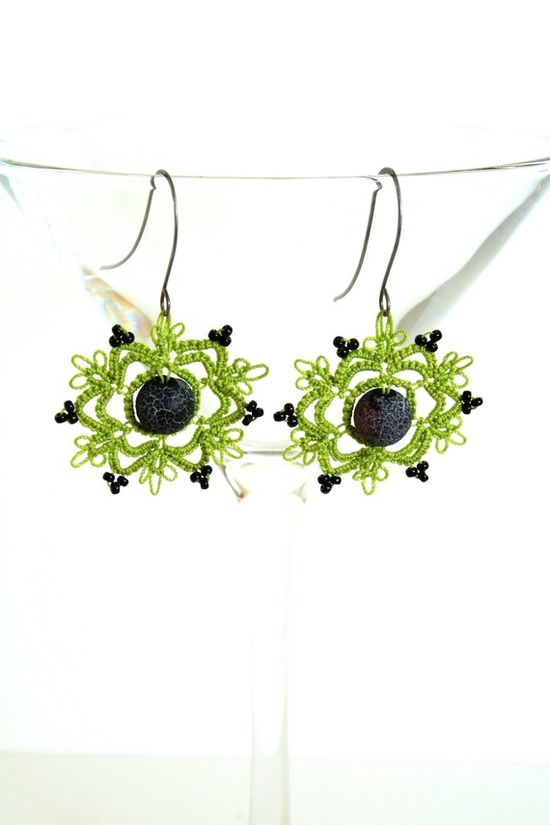 Black and Green Tatted Earrings