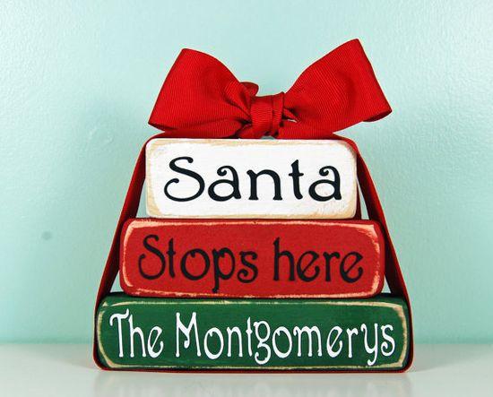 Personalize Santa Stops Here - Family Name- Christmas Wood Block Decor Set. $13.50, via Etsy.