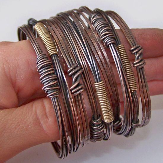 Copper Bangles Bracelets - Hammered and Oxidized - 3 SETS - Made to Order. $90.00, via Etsy.