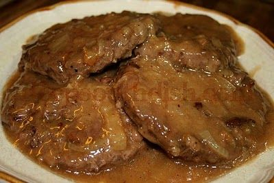 Hamburger Steak with Creamy Onion Gravy ~ So easy & scrumptious! The gravy is amazing! Perfect served with mashed potatoes and a veggie.