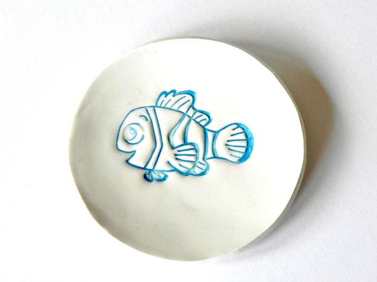 White Ceramic Plate Turquoise Fish Decoration Pottery by Ceraminic, $7.00 - too cute!!!