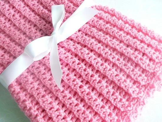 Pink crochet blanket idea - dc back st, picot edging