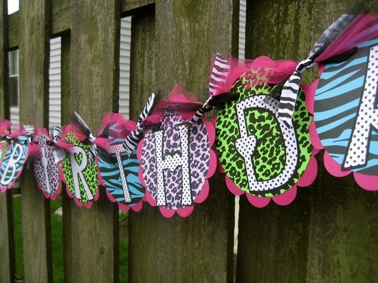 Birthday Banner - Rock Star Party - Wild Animal Prints. $34.00, via Etsy.