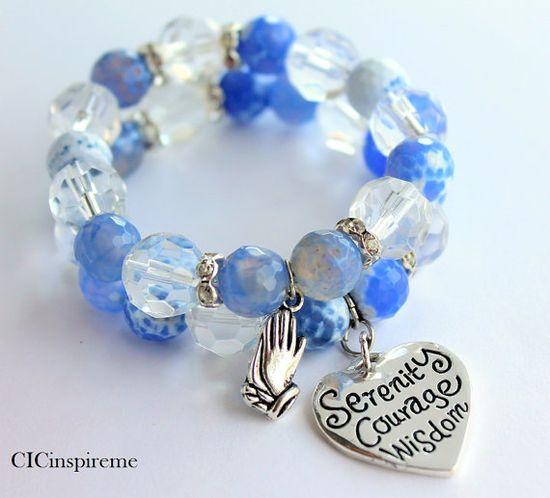 Serenity Prayer Handmade Charm Gemstone Bracelet by CICinspireme, $50.00