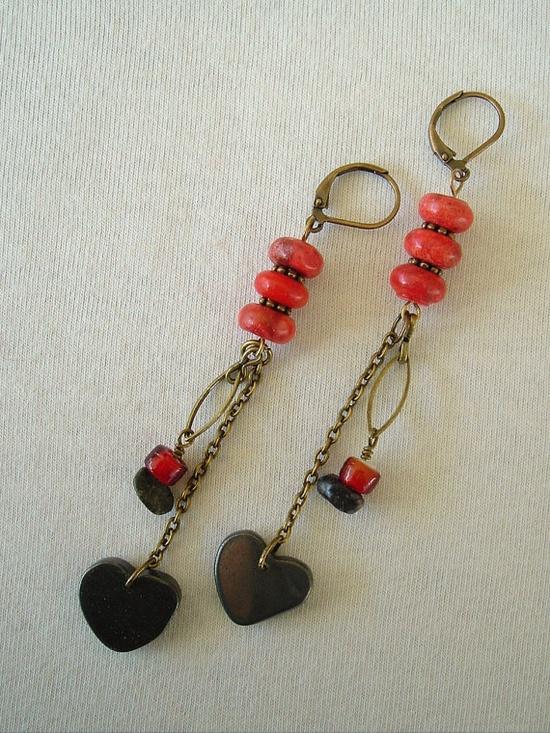 Boho Earrings Hematite Bohemian Jewelry Heart by BohoStyleMe