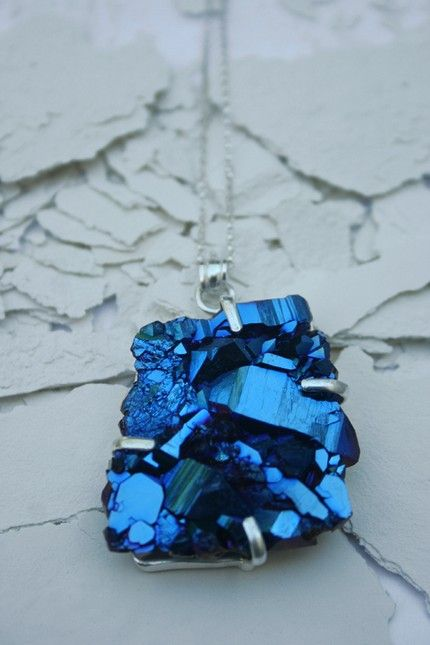 Electric blue druzy necklace